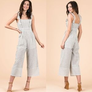 SANDY Striped Ruffle Jumpsuit - GREY
